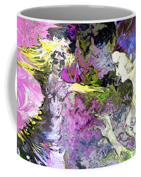Miki Coffee Mug featuring the painting Dance In Violet by Miki De Goodaboom