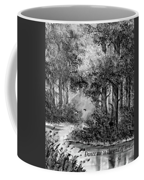 Thailand Coffee Mug featuring the painting Dance Me To The End Of Love Bw by Steve Harrington