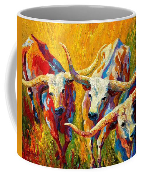 Western Coffee Mug featuring the painting Dance Of The Longhorns by Marion Rose
