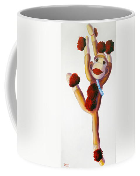 Dancer Coffee Mug featuring the painting Dancer Made Of Sockies by Shannon Grissom