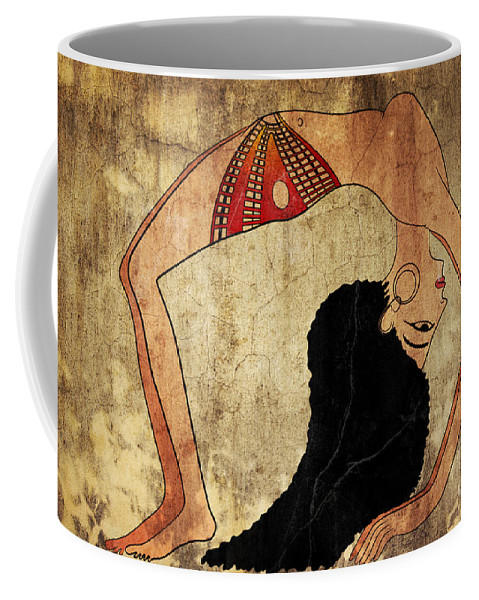 Dancer Coffee Mug featuring the mixed media dancer of Ancient Egypt by Michal Boubin