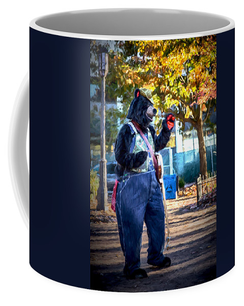 Uniquely Asheville Coffee Mug featuring the digital art Banjo Beary In Pritchard Park by John Haldane