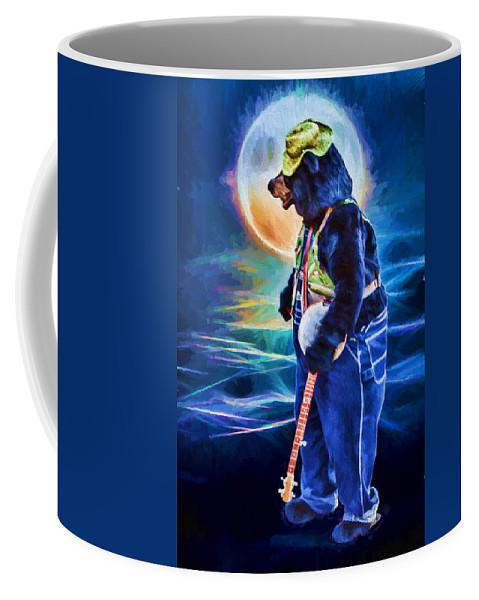 Uniquely Asheville Coffee Mug featuring the digital art Dancing Bear With Banjo by John Haldane