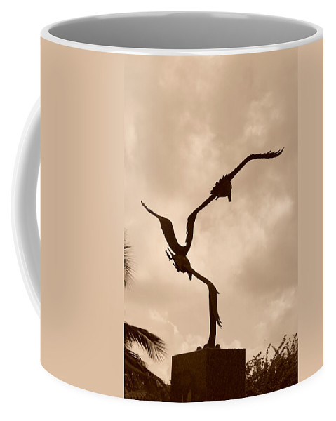 Sepia Coffee Mug featuring the photograph Dancing Birds by Rob Hans