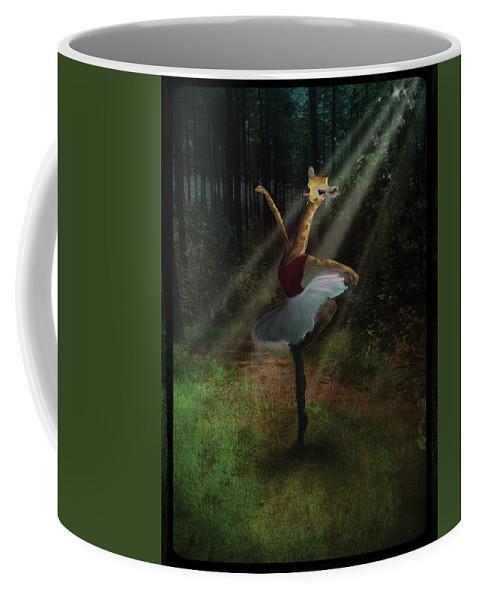 Dancing Coffee Mug featuring the digital art Dancing Giraffe by Valerie VDL
