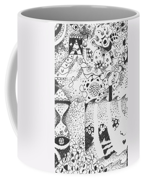 Abstract Coffee Mug featuring the drawing Dancing In The Dark by Helena Tiainen