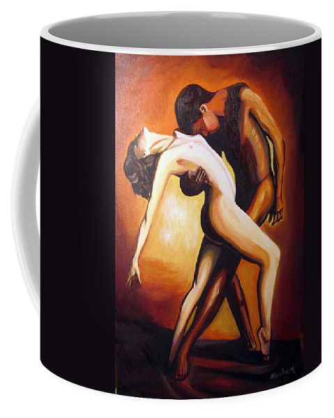 Nude Coffee Mug featuring the painting Dancing by Jose Manuel Abraham
