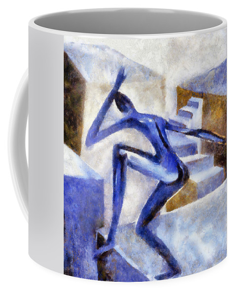 Conceptual Coffee Mug featuring the painting Dancing Off The Edge Of The World by Michelle Calkins