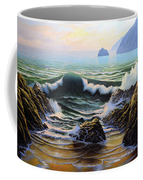 Dancing Tide Coffee Mug featuring the painting Dancing Tide by Frank Wilson