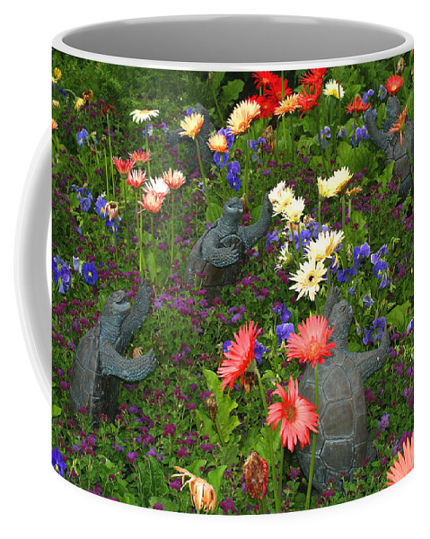 Turtles Statute Flowers Plants Joyous Daisy Gerber Daisy Green Photography Photograph Art Digital Coffee Mug featuring the photograph Dancing Turtles by Shari Jardina