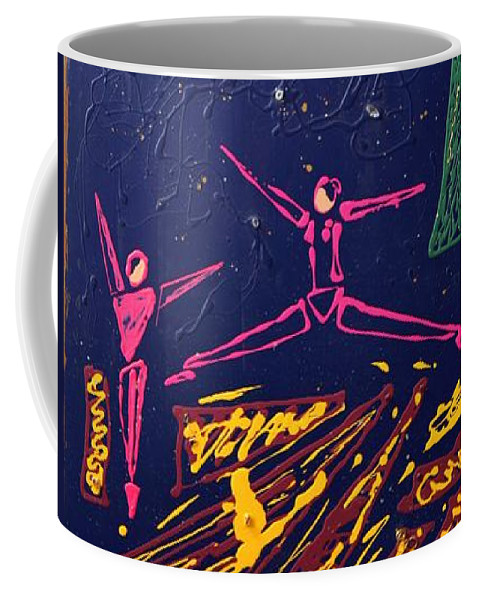 Abstract Art Coffee Mug featuring the mixed media Dancing Under The Starry Skies by J R Seymour