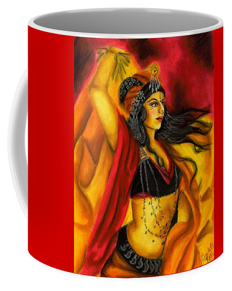 Belly Dancer Coffee Mug featuring the drawing Dancing with Fire by Scarlett Royal