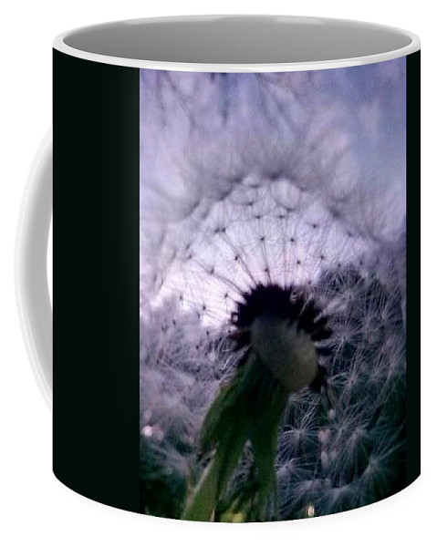 #flowers #flores #dandelion #nature #beauty #night #sky Coffee Mug featuring the pyrography Dandelion by Anna Jarko
