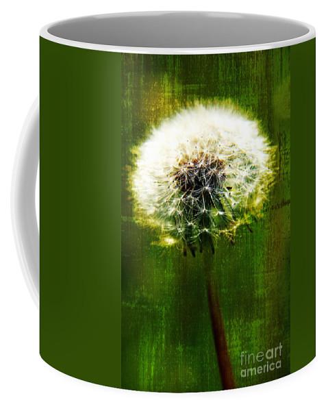 Dandelion Coffee Mug featuring the photograph Dandelion In Green by Lali Kacharava