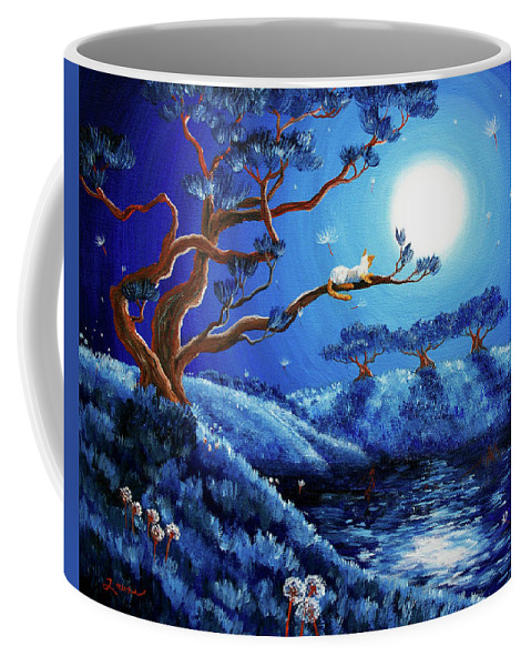 Laura Milnor Iverson Coffee Mug featuring the painting Dandelion Wishes And Pine Trees by Laura Iverson