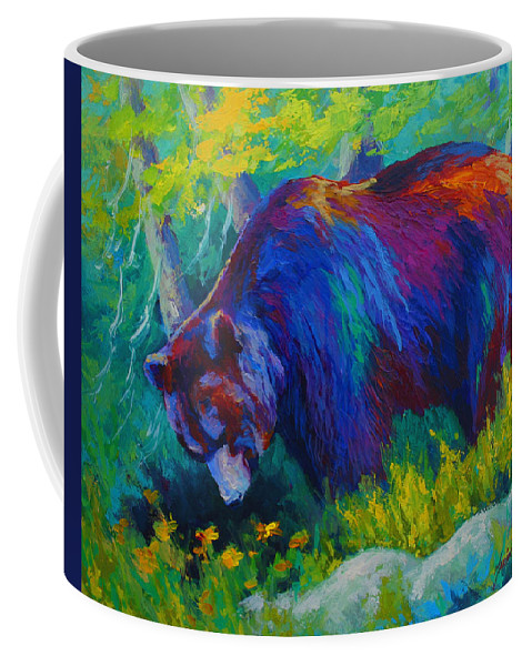 Western Coffee Mug featuring the painting Dandelions For Dinner - Black Bear by Marion Rose