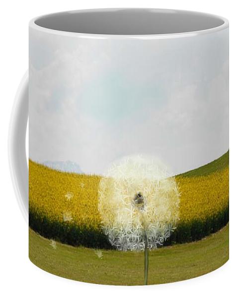 Dandelion Coffee Mug featuring the digital art Dandy Day by Jenny Johnson