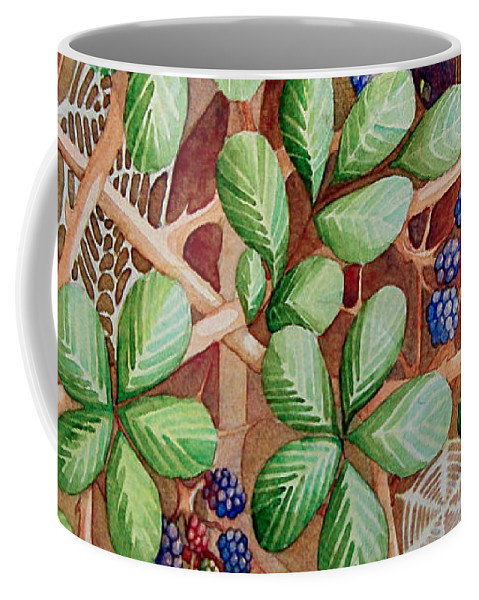 Bushes Coffee Mug featuring the painting Danger In The Bushes by Rachel Osteyee