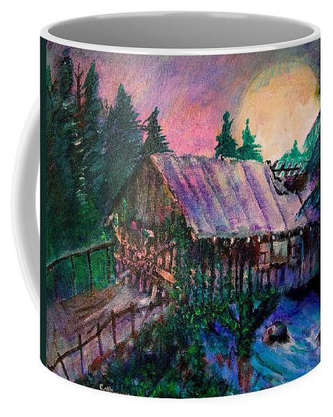 Dangerous Bridge Coffee Mug featuring the painting Dangerous Bridge by Seth Weaver