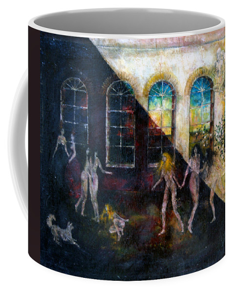 Imagination Coffee Mug featuring the painting Dangerous Parties by Wojtek Kowalski