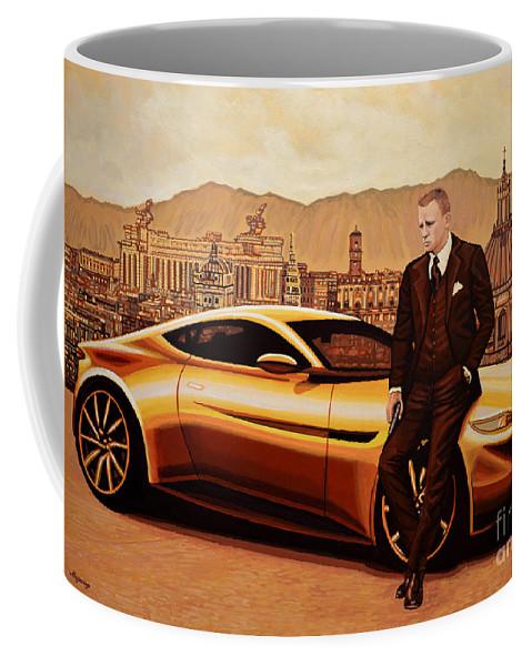 Daniel Craig Coffee Mug featuring the painting Daniel Craig As James Bond by Paul Meijering