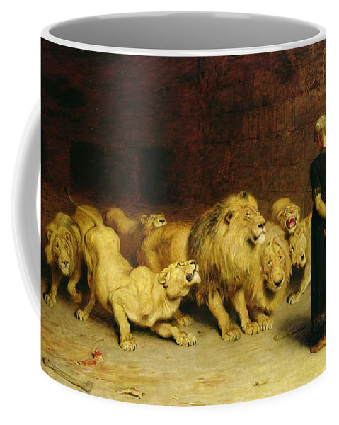 Daniel In The Lions' Den Coffee Mug featuring the painting Daniel In The Lions Den by Briton Riviere
