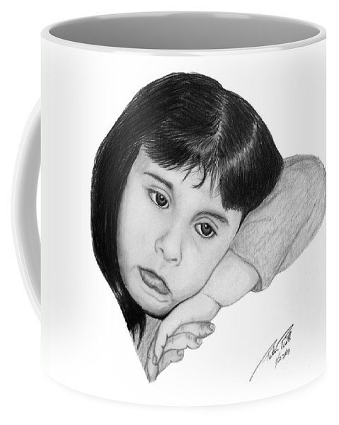 Portrait Sketch Coffee Mug featuring the drawing Dannie by Peter Piatt