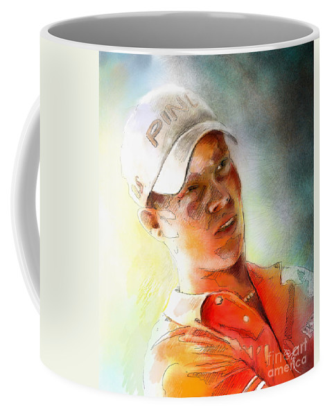 Gold Portrait Painting Danny Willett Art Madrid Masters Pga Tour Coffee Mug featuring the painting Danny Willett In The Madrid Masters by Miki De Goodaboom