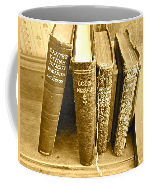 Photograph Of Old Books Coffee Mug featuring the photograph Dante God And Shakespeare ... by Gwyn Newcombe