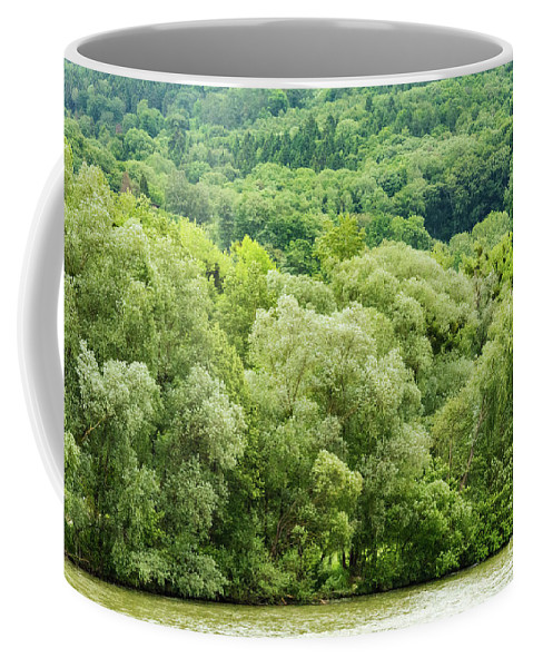 Austria Danube River Rivers Water Green Tree Trees Landscape Landscapes Coffee Mug featuring the photograph Danube Green by Bob Phillips