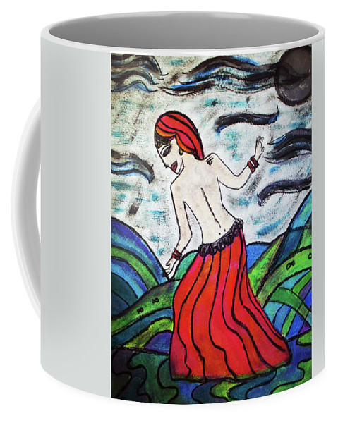 Nature Coffee Mug featuring the painting Danza De Mar Y Luna by Ines Rivera