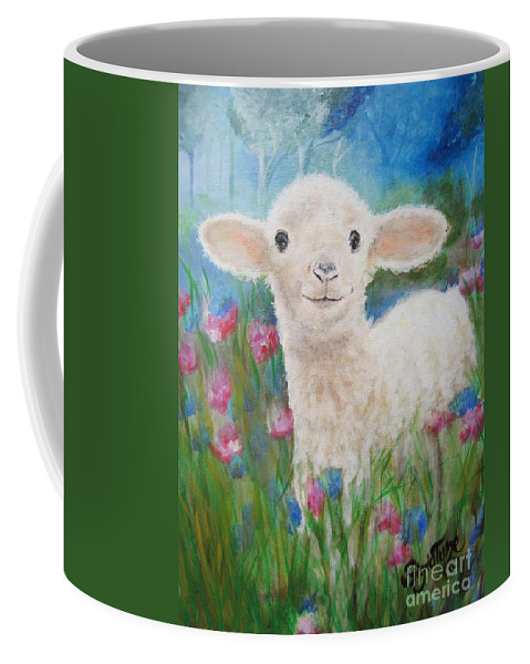 Lamb Coffee Mug featuring the painting Flying Lamb Productions   Daphne Star In The Tall Grass by Sigrid Tune