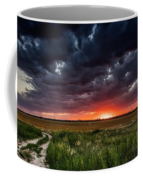 Fort Morgan Coffee Mug featuring the photograph Dark Clouds At Sunset by Mountain Dreams