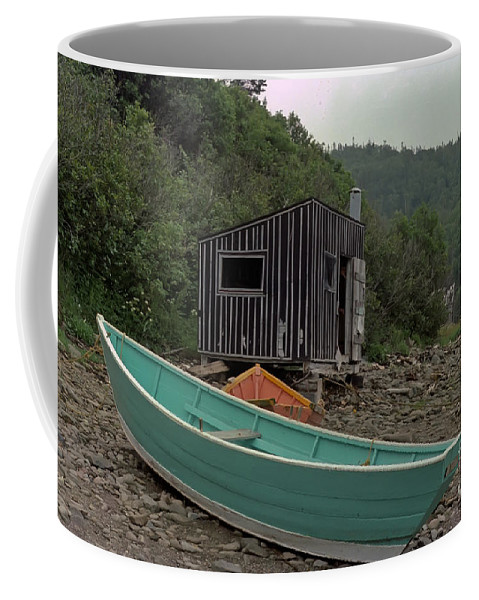 Fisherman Coffee Mug featuring the photograph Dark Harbour Fisherman Shack And Boat by Thomas Marchessault