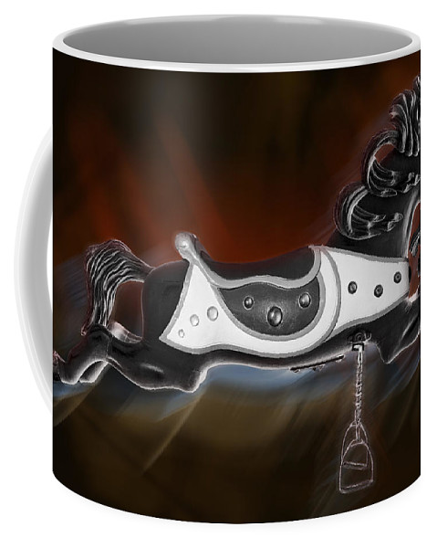 Carousel Horse Coffee Mug featuring the photograph Dark Horse by Kelley King