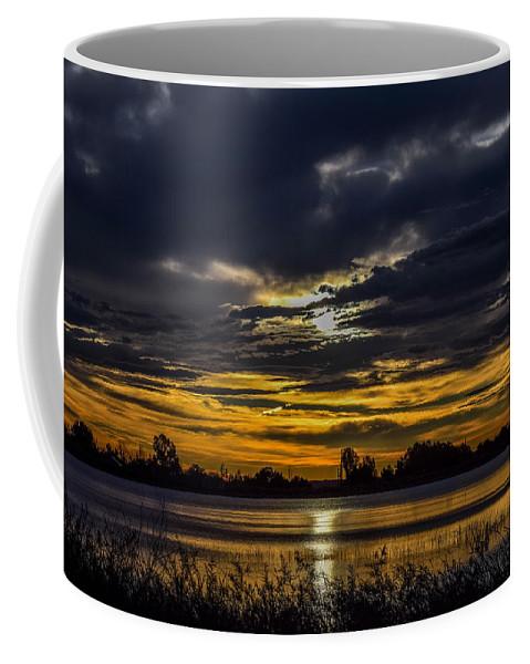 Lake Coffee Mug featuring the photograph Dark Lake Sunrise by Michael Putthoff
