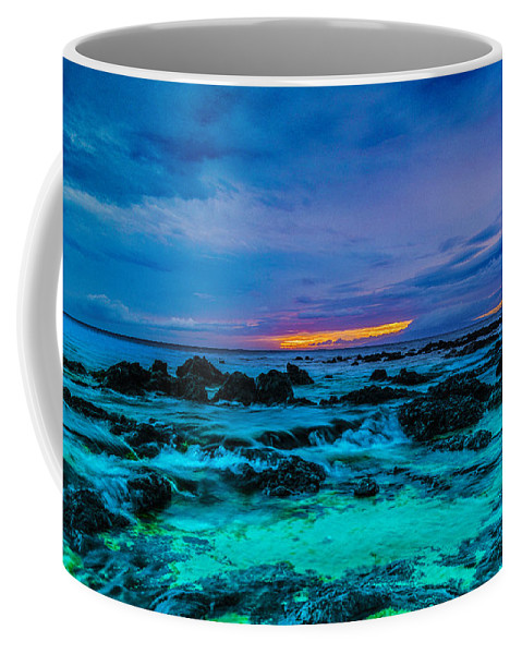 Florescent Waters Coffee Mug featuring the photograph Night Glow by Joy McAdams