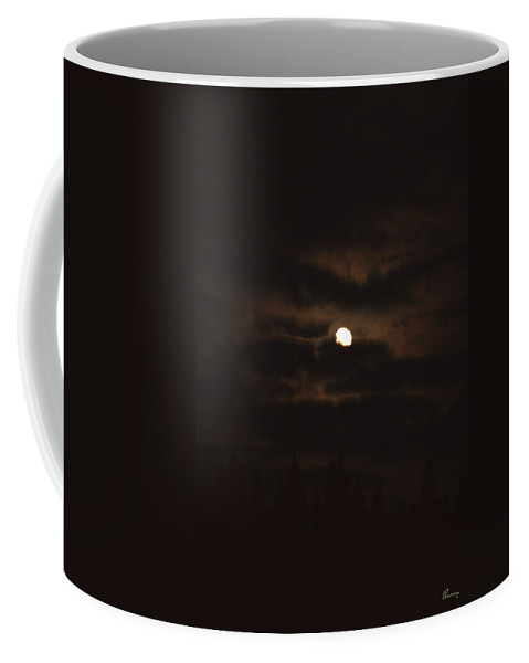 Moon Clouds Night Evening Light Cloudy Sky Trees Moonlight Moonlit Coffee Mug featuring the photograph Dark Night by Andrea Lawrence