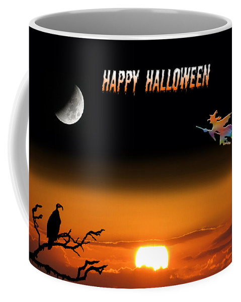 Holiday Card Coffee Mug featuring the photograph Dark Night Halloween Card by Adele Moscaritolo