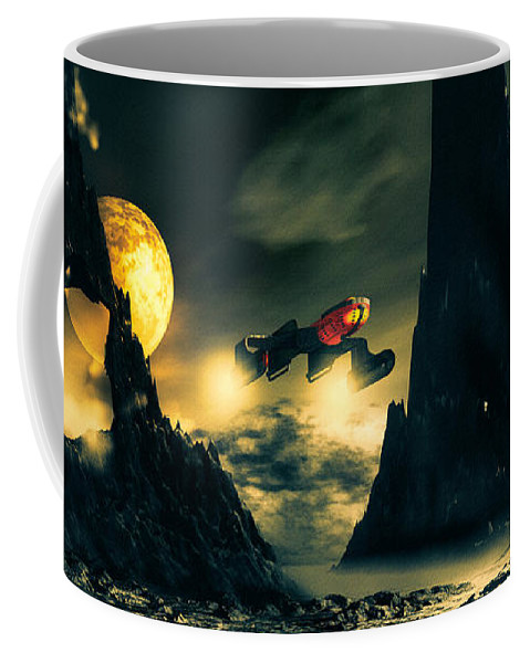 Science Fiction Coffee Mug featuring the mixed media Dark Planet by Bob Orsillo