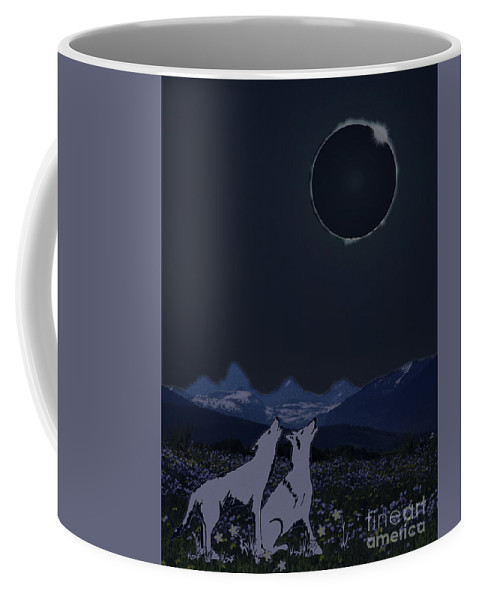 Eclipse Coffee Mug featuring the digital art Dark Sky Eclipse Flare by Shelley Myers