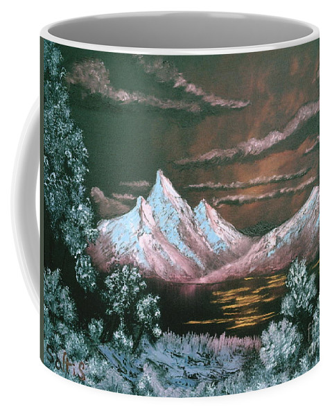 Landscape Coffee Mug featuring the painting Dark Sunset by Jim Saltis