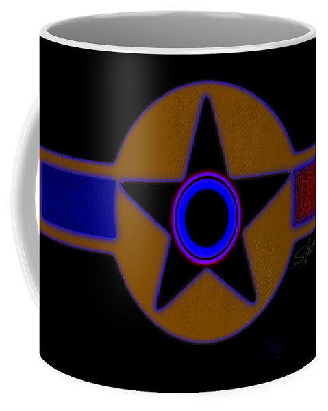Usaaf Coffee Mug featuring the painting Darker Than Black by Charles Stuart