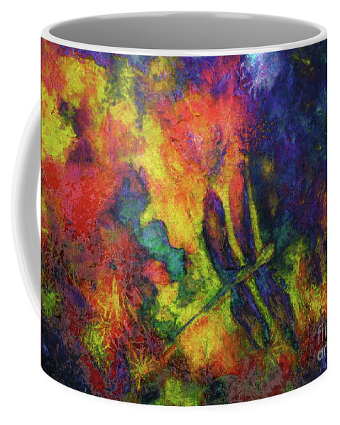 Dragonfly Coffee Mug featuring the painting Darling Darker Dragonfly by Claire Bull