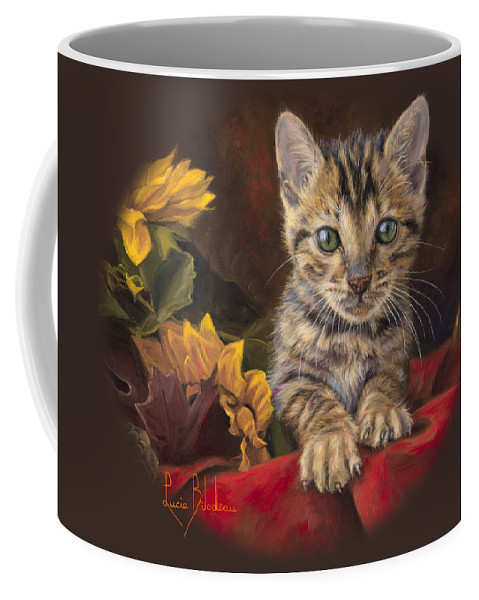 Cat Coffee Mug featuring the painting Darling by Lucie Bilodeau
