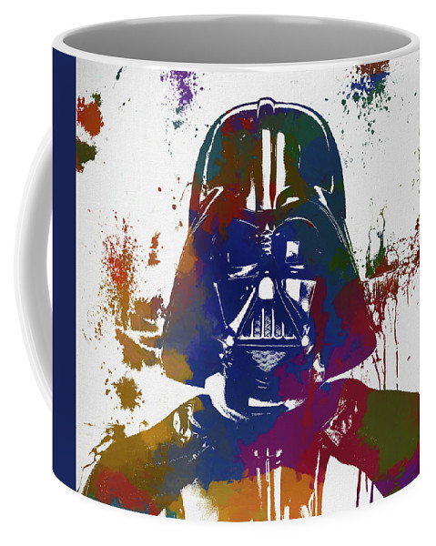 Darth Vader Paint Splatter Coffee Mug featuring the painting Darth Vader Paint Splatter by Dan Sproul