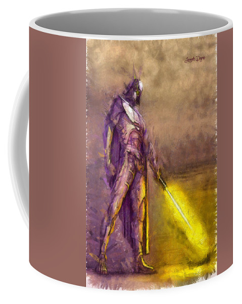 Darth Vader Coffee Mug featuring the painting Darth Vader Reloaded - Pa by Leonardo Digenio