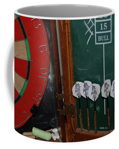 Macro Coffee Mug featuring the photograph Darts And Board by Rob Hans