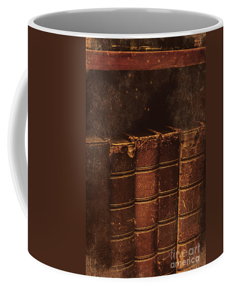Bookcase Coffee Mug featuring the photograph Dated Textbooks by Jorgo Photography - Wall Art Gallery