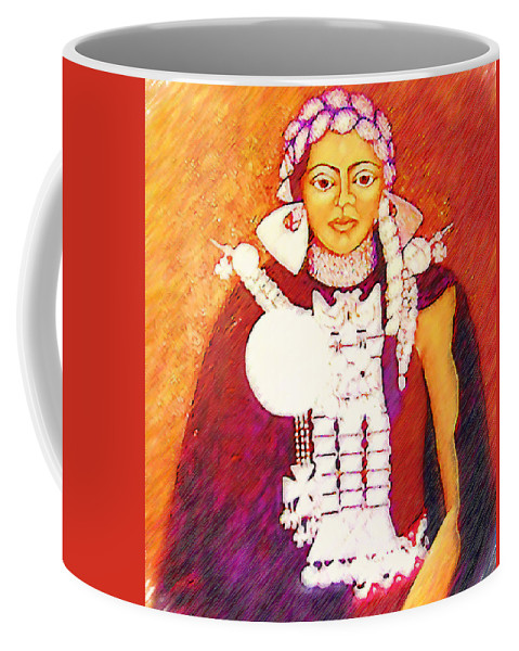 Portrait Coffee Mug featuring the painting Daughter Of The Bright Sun - Kushe by Madalena Lobao-Tello